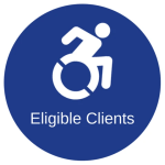 Blue circle with the accessibility symbol with the words eligible clients below