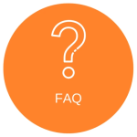 Orange circle with a question mark and the acronym FAQ below