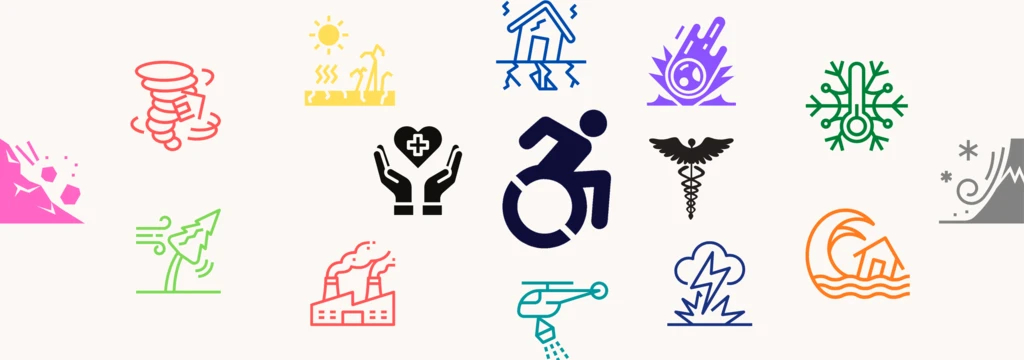 Image with symbols depicting different disasters and in the middle the accessibility symbol