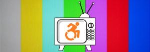 Image with a white old dial television and an orange accessibility symbol on the screen