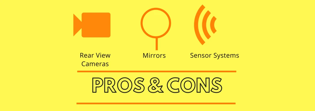 Image with the words Pros & Cons and three symbols and words depicting Rear View Cameras, Mirrors and Sensor Systems