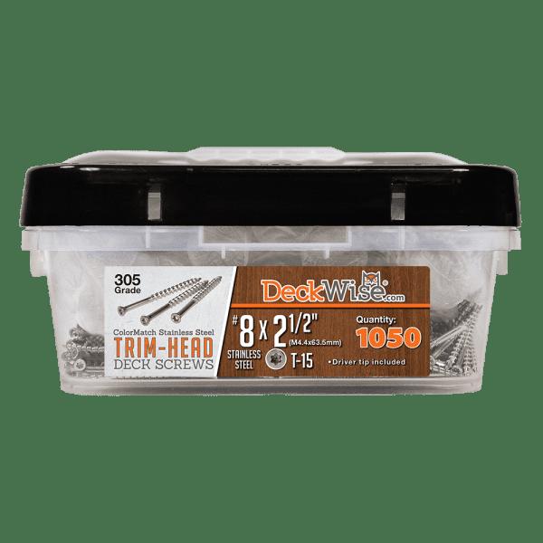 Trim Head DeckScrew 8x2-1/2 1050ct Stainless Steel