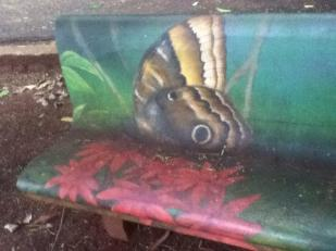 One of many colorfully painted benches in Inga Park
