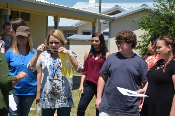 Brazos River Charter School Students and Teacher Study an Eclipse