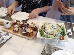 Crostini--classic bruschetta, cherries, shrimp. Salad with fresh ricotta, grilled zucchini, parm (!), olives, a wonderful dressing.