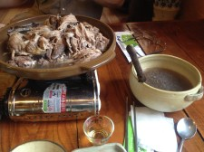 One whole duck, two people. Kkujibbong broth, tender meat, a cavity filled with rice and jujubes and roots.