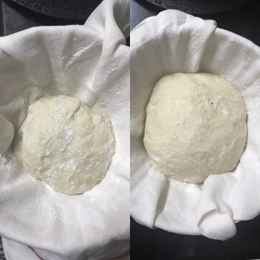 Dough proofed 10 hours in the refrigerator and shows visible expansion