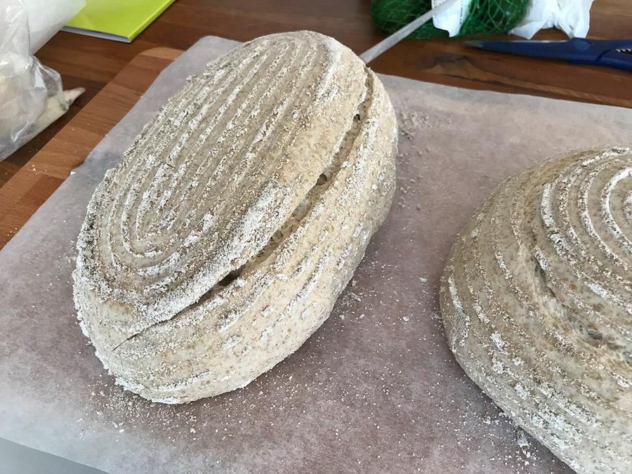Fotografie cu pâinea cu maia înainte de a fi pusă la cuptor. Păinea a fost realizată în formă de franzelă (batard) și i-am făcut o tăietură longitudinală, la 45 de grade.