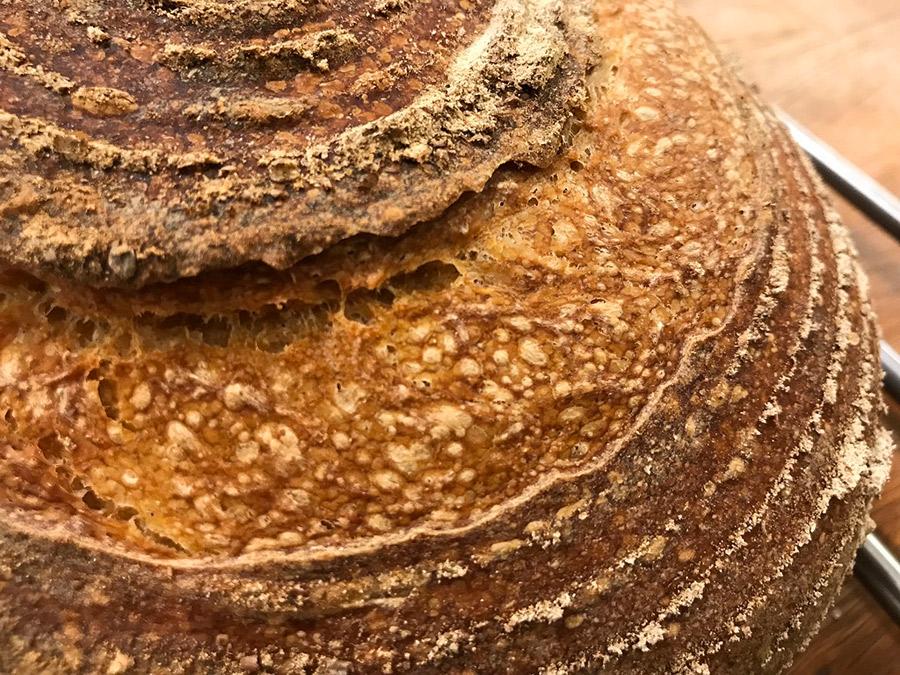 Detaliu al crustei painii cu maia reatardate la rece. Suprafața este caramelizată și prezintă bășicuțe.