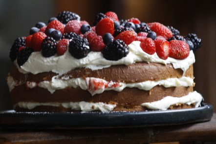 whipped cream and berry cake