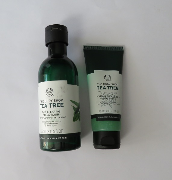 Body Shop Tea tree face wash and scrub