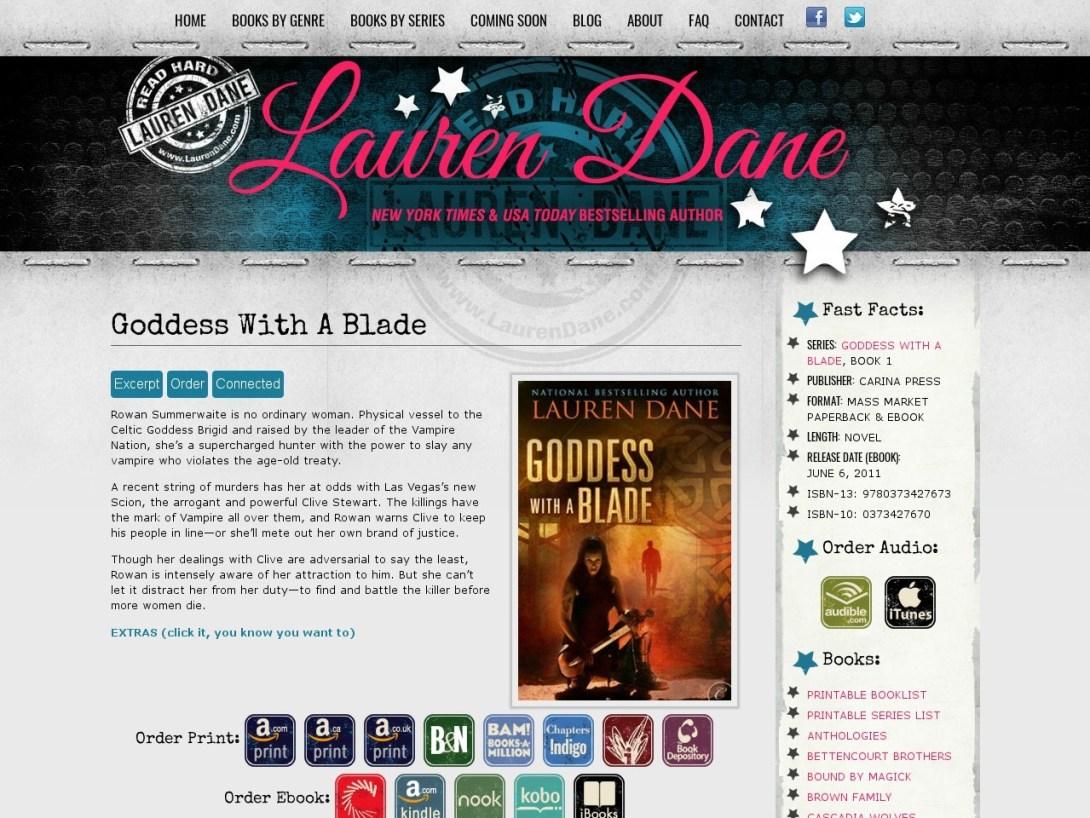 Goddess with a Blade on Lauren Dane's official website.