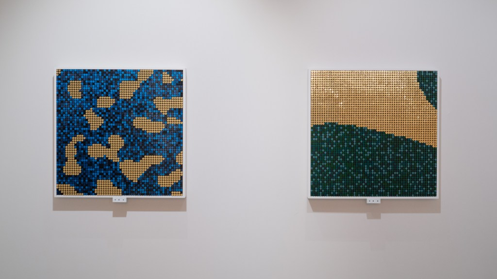 """Flip-Discs artworks called """"Venice Ice"""" and """"Mauna Loa Air"""" about Climate Change at TEFAF New York. Created by BREAKFAST."""