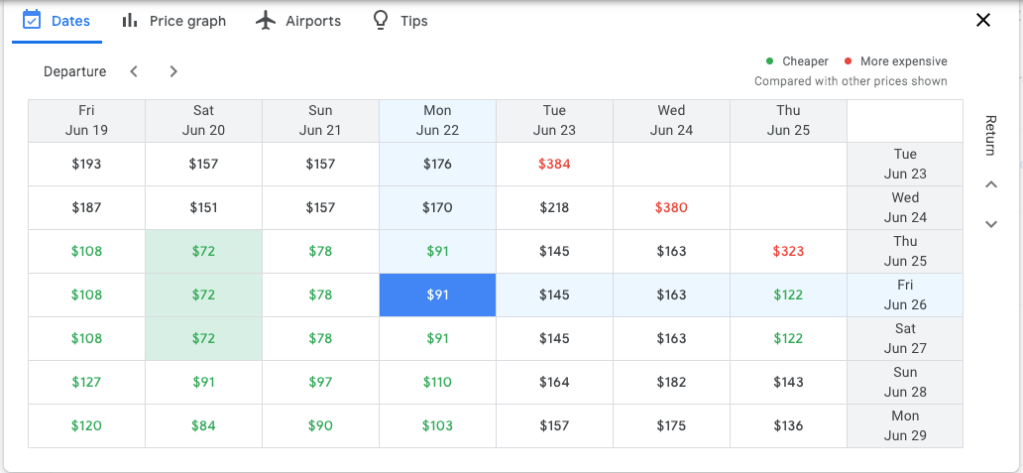 Google Flight cheap airfare search