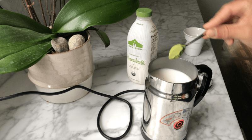 Matcha Almond Latte Adding Matcha