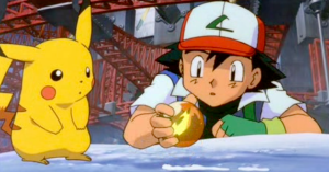 Pokemon The Movie 2000 Ash Ketchum and Pikachu with thunder orb