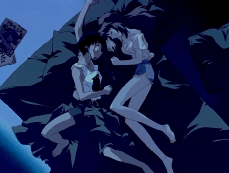 Neon Genesis Evangelion Asuka Langley Sohryu sleeping and Shinji Ikari