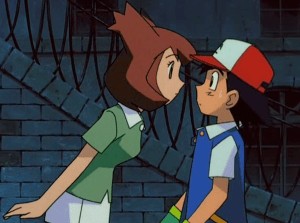 Pokemon Heroes Latias disguised as Bianca stares at Ash Ketchum