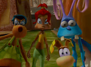 Rayman: The Animated Series Rayman, Betina, Cookie Luvagetto and Lac-Mac shocked
