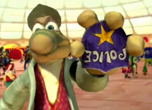 Rayman: The Animated Series Inspector Grub showing police badge
