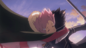 Sword Art Online Lisbeth hugs Kirito