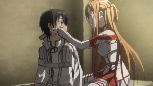 Sword Art Online Asuna touches Kirito
