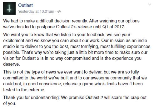 Outlast 2 postponed