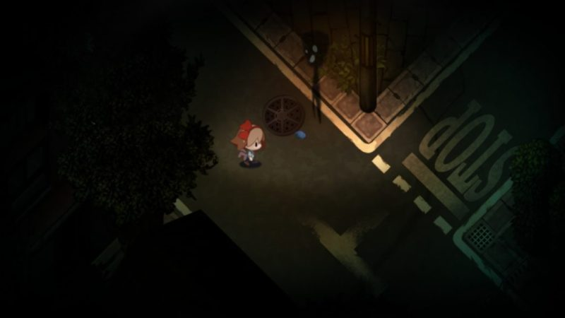 Yomawari: Night Alone gameplay streetlight shadow