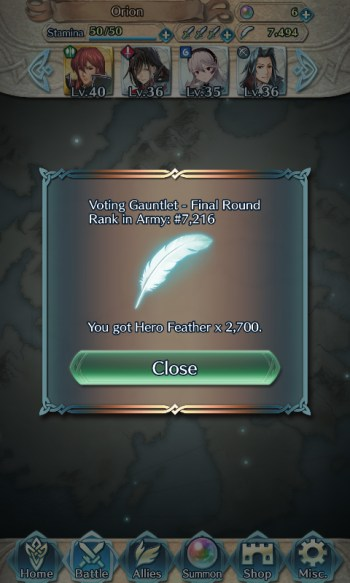 Fire Emblem Heroes Voting Gauntlet feathers