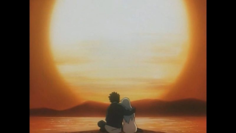 """Now and Then, Here and There anime Shuzo """"Shu"""" Matsutani and Lala-Ru watch sunset"""