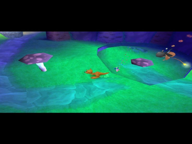 Spyro: Year of the Dragon PS1 gameplay Spooky Swamp Sheila firefly bomb escort