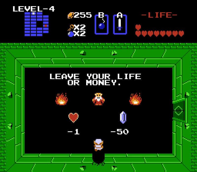 """The Legend of Zelda 1 NES """"LEAVE YOUR LIFE OR MONEY."""""""