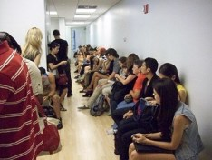 lines at a casting audition modeling