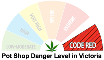 Victoria's pot shop danger level under Lisa Helps, illustration by Hal Hannon