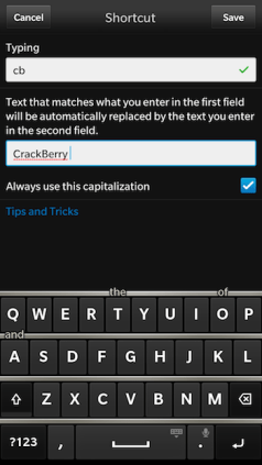 Word Substitution Fix for Blackberry 10