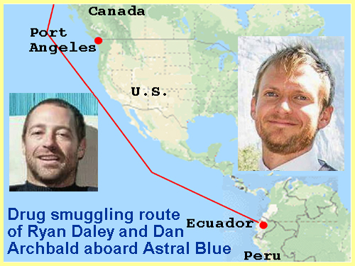 Drug smuggling route of Archbald and Daley