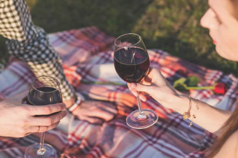elegant Picnic on a blanket with wine