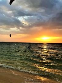 Kitesurfer at sunset