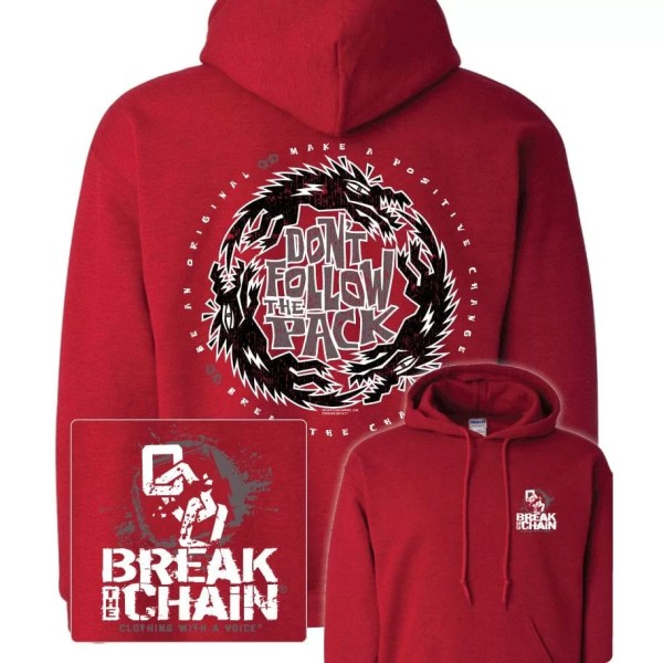 Break the Chain's Don't Follow the Pack Red Hoodie