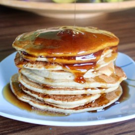 Vegan Fluffy Pancakes With Brown Sugar Pancake Syrup.