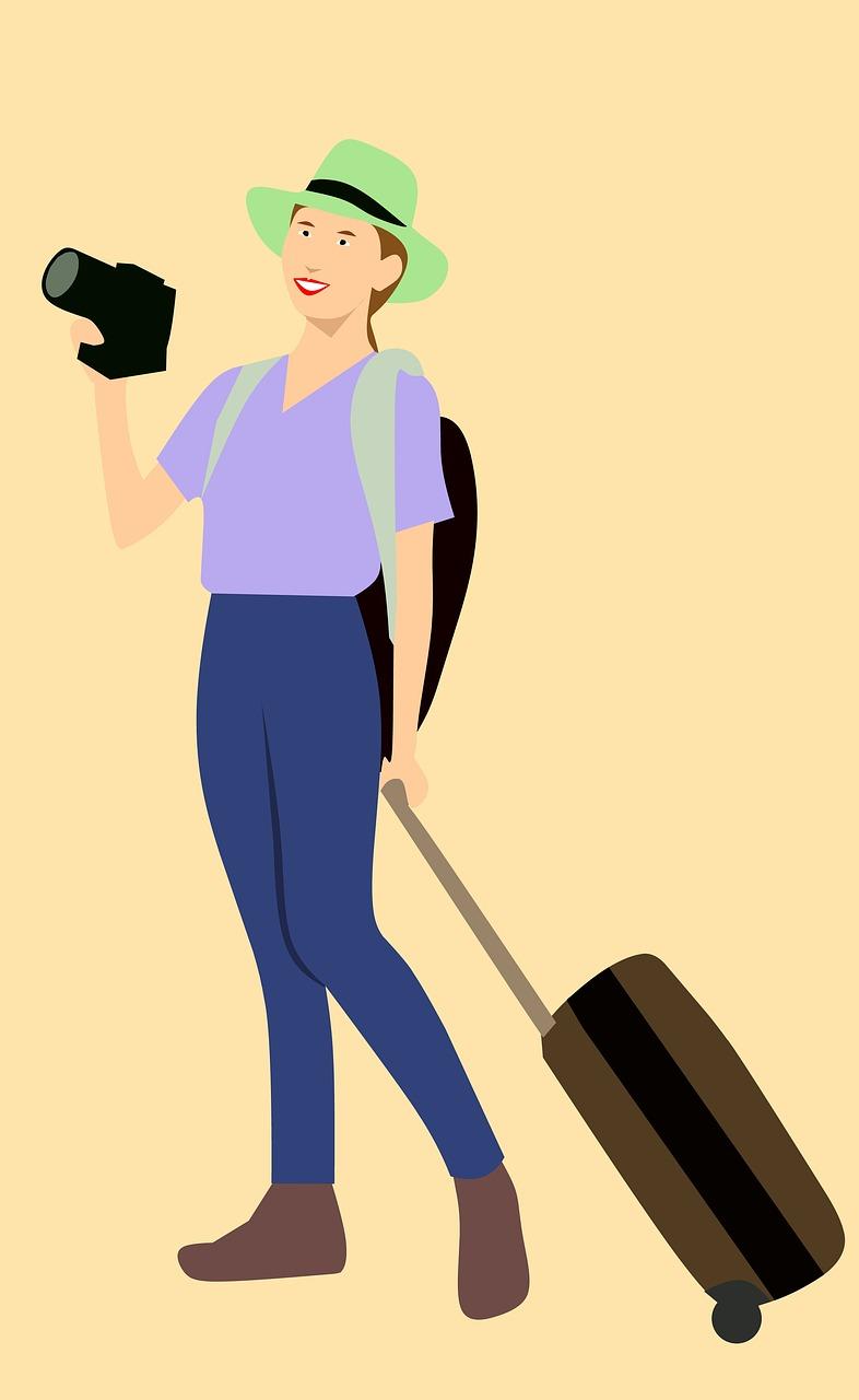 tourist, traveling, cartoon character
