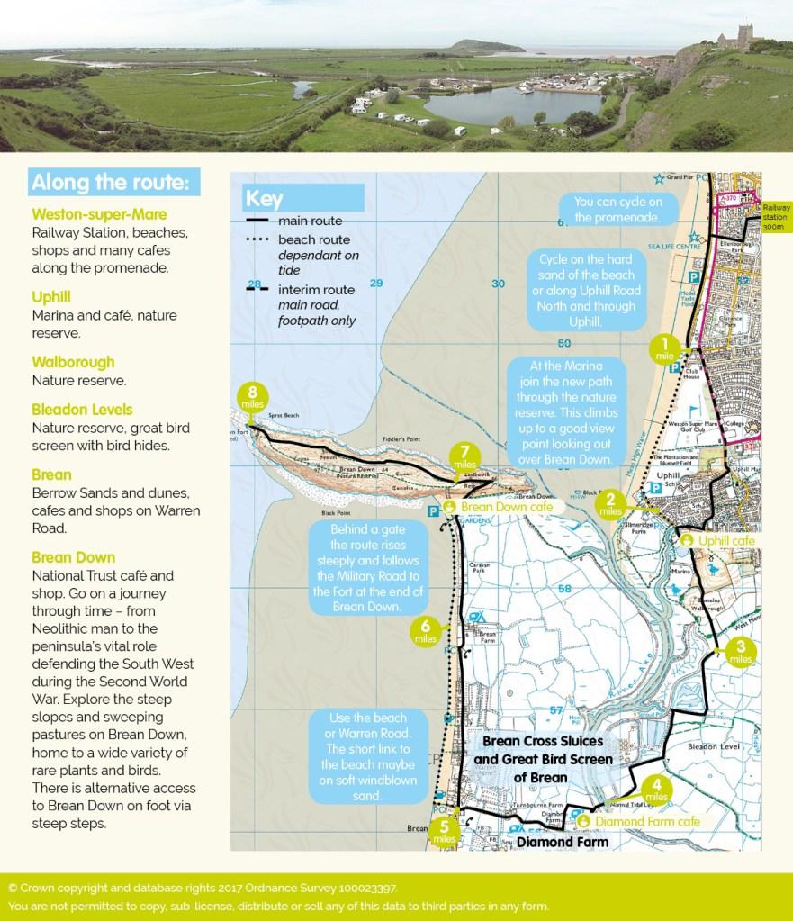 Brean Down Way cycle map