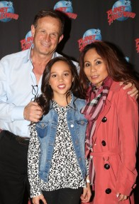 """NEW YORK, NY - MARCH 14: Breanna Yde poses with her family as she promotes her New Nickelodeon TV Series (based on the film)""""School of Rock"""" at Planet Hollywood Times Square on March 14, 2016 in New York City. (Photo by Bruce Glikas/Bruce Glikas/FilmMagic) *** Local Caption *** Breanna Yde"""