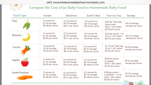 homemade baby food, cost comparison