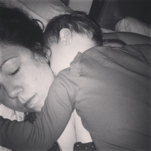 baby sleeping on mama