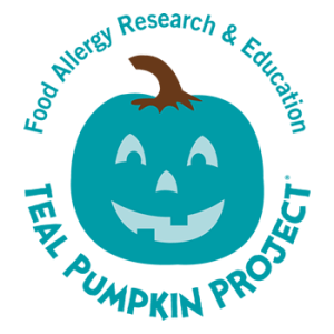 Food Allergy Research & Education Teal Pumpkin Project logo that shows a jack-o-lantern in the FARE awareness color of teal