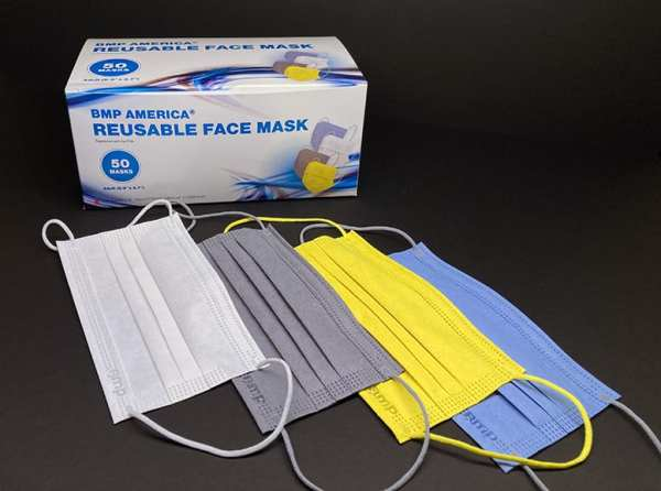 BMP America® Reusable Adult Face Mask - Box of 50 Masks showing all four color options