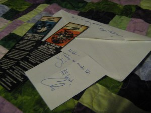 Photo of my signed bookmarks and the note they came with