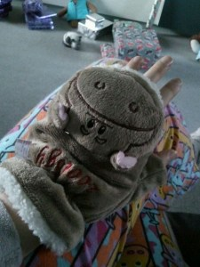 Photo of my hand with my new hippo fingerless gloves on.