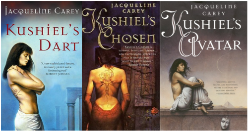 Original covers of the first three Kushiel books by Jacqueline Carey
